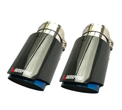"2 X 3"" 76mm & 4.5""114mm Akrapovic Glossy Carbon Fiber Exhaust tip Blue End pipe"