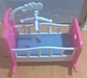You and Me Baby Doll Rocking Cradle with Mobile
