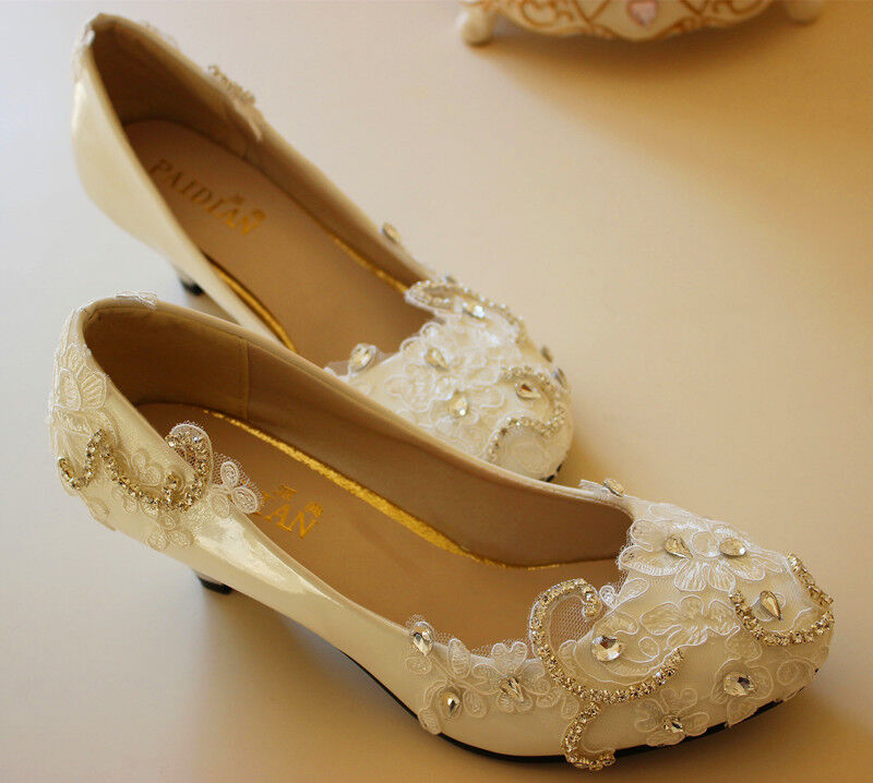 Lace Bling Bride Wedding Pumps High Heel Low Heel Flat Bridesmaid Prom Shoes 3-9