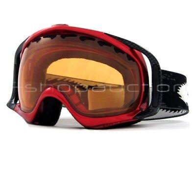 Oakley 02-370 Crowbar Metallic Red Persimmon Lens Mens Snow Board Ski Goggles .
