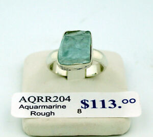 SAVE 50% on Rough Aquamarine Sterling Silver ring, size 8