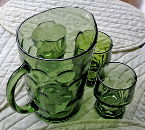 Anchor Hocking Georgian Goblets-Fire King Water Pitcher(Vintage)