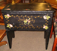 LOVELY ANTIQUE PAINTED DOUGH BIN AT CHARMAINE'S