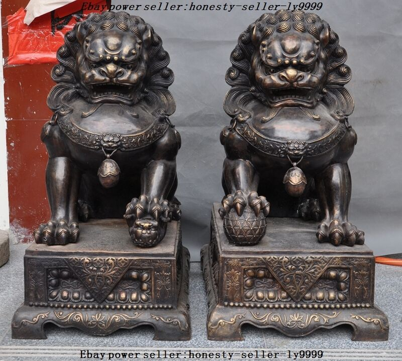 Huge Chinese Bronze Avoid evil Guardian Door BeiJing Palace Fu Foo Dog Lion Pair