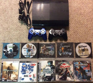 Playstation 3 Slim With 2 Wireless Controllers and 10 Games!!
