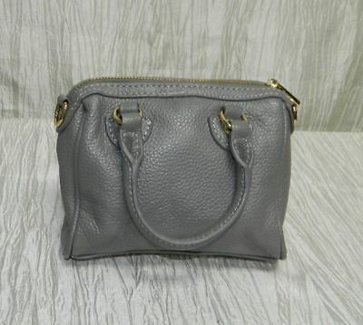 TERZETTO NEW Gray Leather Zip Top Handles Satchel Handbag Purse