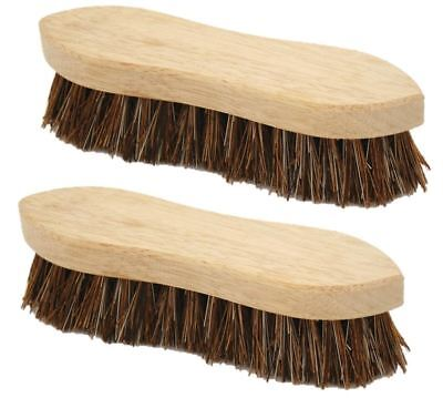 "2 x Traditional Floor Scrubbing Brushes Hard Bristle 8"" Wooden Hand Deck Broom"