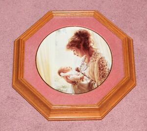 "Sandra Kuck Collectible Plate ""God's Gift"" Mother Child Framed"