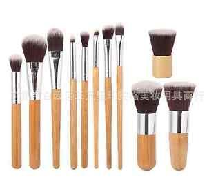 Natural Bamboo Handles Super Soft Bristles Eco-friendly 11 pcs Makeup Brush Set