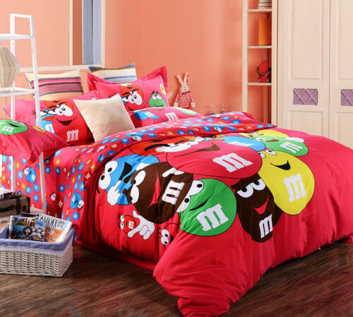 Chocolate Bean Cartoon M&M QUEEN SIZE Indian Red Color BED SHEET 4PCS COTTON SET