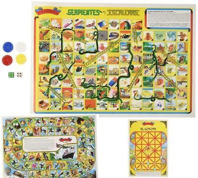 Serpientes y Escaleras 3 Mexican Board Games Don Clemente Juego la Oca El Coyote
