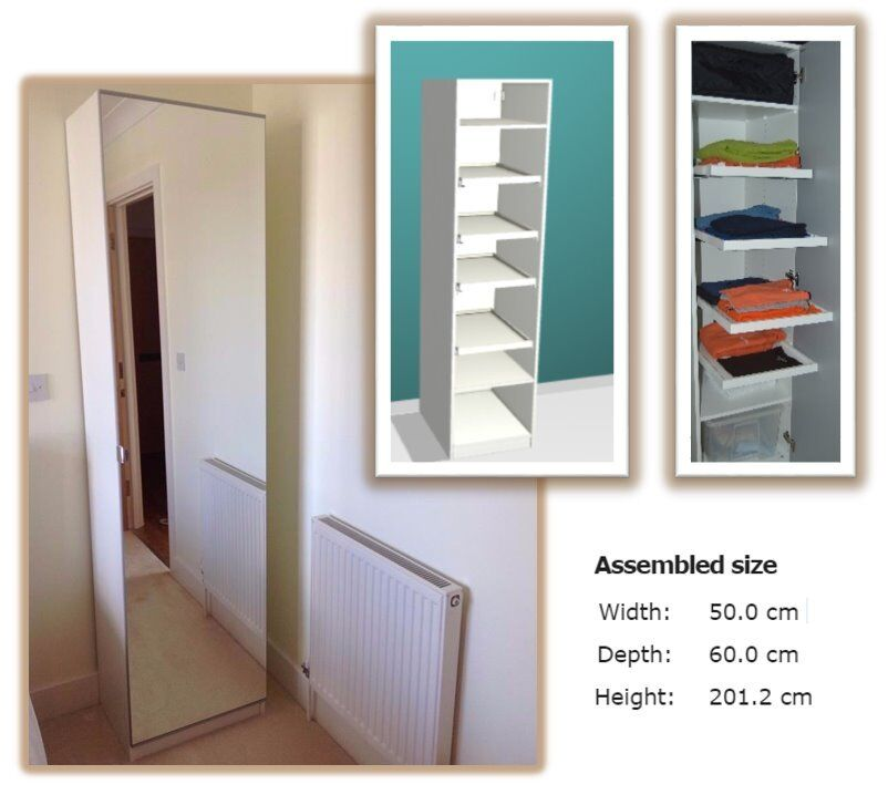 Ikea Pax White Wardrobe With Mirror Door 4 Pull Out