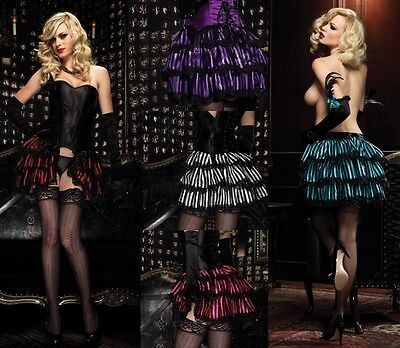 Striped Satin Bustle Skirt, Leg Avenue, 8-14, Burlesque, Saloon, Show Girl, Sexy