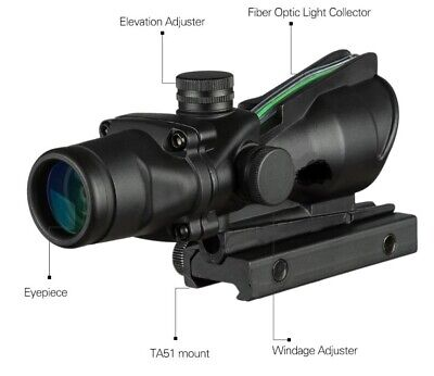 Hunting Riflescope ACOG 4X32 Real Fiber Optics Green Dot Tactical