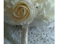 Wedding bouquet ivory roses with diamantes