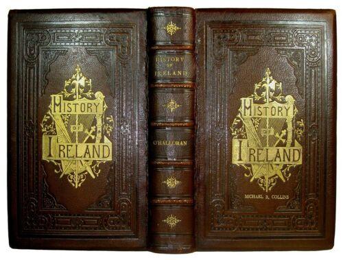 1850 IRELAND Irish HISTORY Ancient Modern Religion Rebellion ENGRAVINGS LEATHER