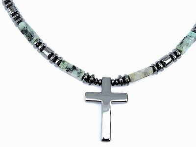 Magnetic AFRICAN TURQUOISE CROSS Pendant Men's or Women's Healing Necklace