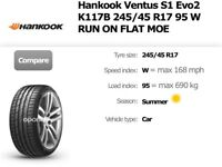 BMW, AUDI TYRES Hankook 245/45/17 RUN FLAT K117B