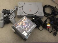 PS1 with games, controllers, memory card and cables