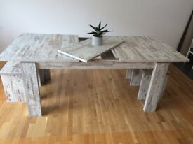 7 pc. furniture set - TV cabinet, display unit, bookshelf, shelf, table & 2 stools - offers welcome!