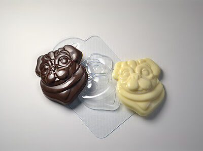 """Pug 2"" dog plastic soap mold soap making mold mould"
