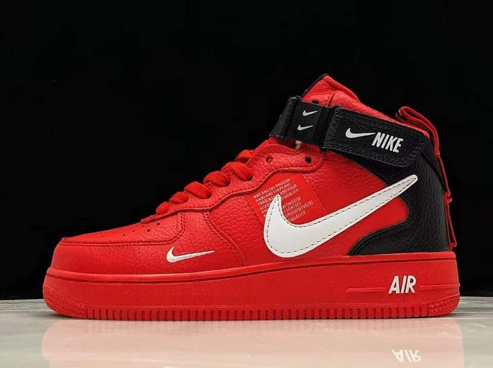 Nike Air Force 1 Mid '07 LV8 'Overbranding' RedWhiteBlack Sz 7 11