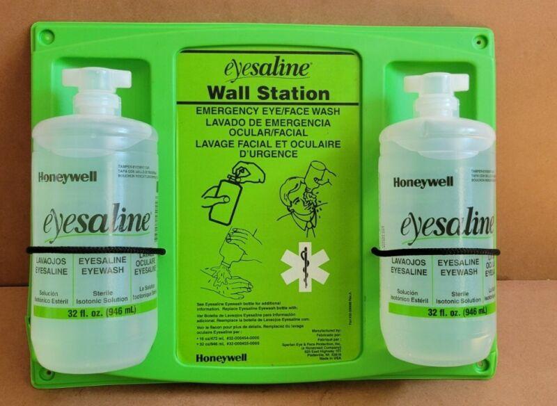 HONEYWELL Double Bottle Saline Eye Wash Station | Two 32 oz Bottles | Wall Mount