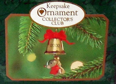 HALLMARK CHRISTMAS Membership ornament A FRIEND CHIMES IN 2000 Mouse Bell