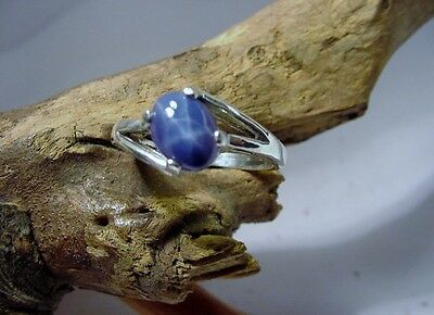 Blue Star Sapphire-created Ring 8x6 offset sz 7 USA Sterling Silver .925 oval