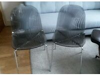 2 John Lewis Swirl Dining Chairs Smoke Grey