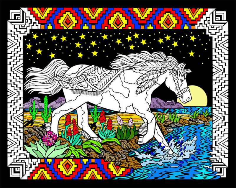 Midnight Bronco - Large 16x20 Inch Fuzzy Velvet Coloring Poster