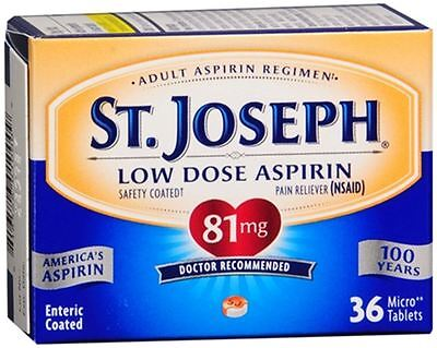 St. Joseph Aspirin Tablets Adult Low Strength Safety Coated 36 Tablets (6 pack)