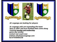AC oxgangs are looking for football players age 9 or 10