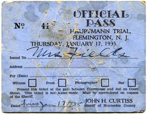 Bruno Hauptmann Trial Charles Lindbergh Baby Kidnapper Murder 1935 Official Pass