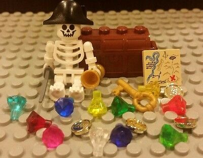 Children's Treasure Chest (Lego NEW Treasure Chest With 11 Gems/Jewels And Skeleton Pirate Captain +)