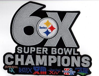 PITTSBURGH STEELERS PATCH XLARGE JACKET STYLE 6X SUPER BOWL CHAMP SUPERBOWL 52 ?