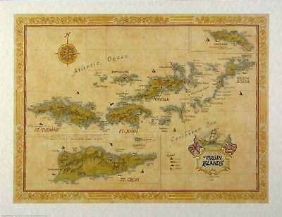 Antique Style VIRGIN ISLANDS Map