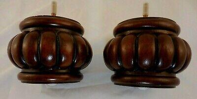 4 Walnut Finish Turned Solid Wood Furniture Legs 4137 Sofa Chair Ottoman 4 Legs