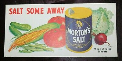 "MORTON'S SALT Vtg 1940's ADVERTISING INK BLOTTER 4-1/8"" x 9"" Salt Some Away EUC"