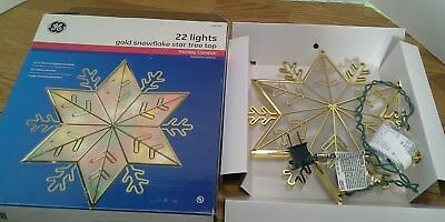 Christmas Tree Top Gold Snowflake Star GE Lights Up Multi Color Ornament