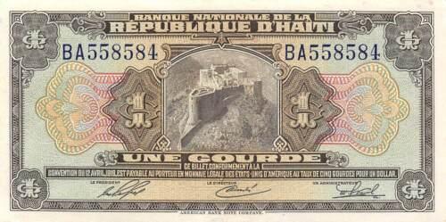Haiti  1  Gourde  ND. L. 1919 / 1951  Series  BA  Circulated Banknote BB6