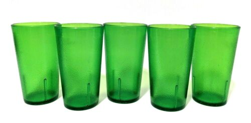 Vintage Texan Set of 5 Melmac Green Textured Plastic Cups Tumblers 312