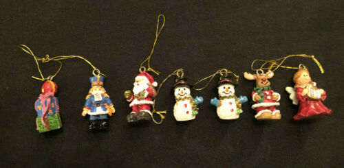 7 Christmas Tree MINI ORNAMENT Santa Snowman Reindeer Angel Gift Nutcracker Lot