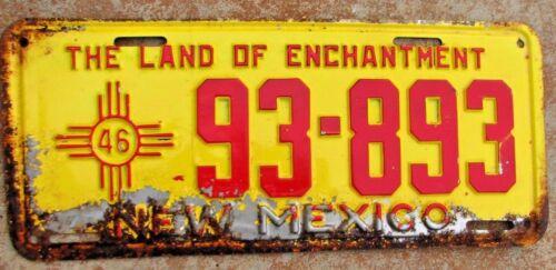 "1946 NEW MEXICO PASSENGER LICENSE PLATE "" 93 893 "" NM 46 ALL ORIGINAL CONDITION"