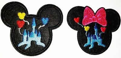 Mickey Mouse & Minnie Patches Disney Castle 2 Embroidered Iron On Appliques Disney Iron On Appliques