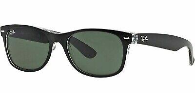 Ray-Ban RB 2132 6052 New Wayfarer Sunglasses Black on Clear w/case 52mm (Ray Ban New Small Wayfarer 52mm Sunglasses)