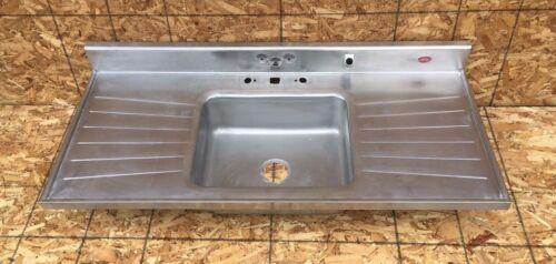 "Vtg Mid Century 54"" Tracy Stainless Steel Single Basin Old Kitchen Sink 575-20E"
