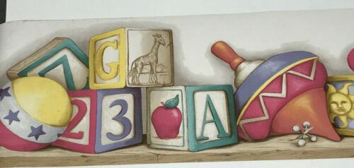 York wallpaper border decorative ABC alphabet toys clowns animals boy girl baby