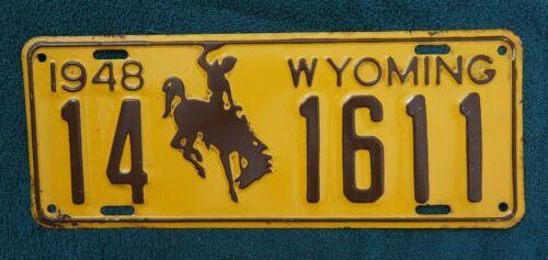 1948 Wyoming License Plate - Nice Original
