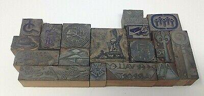 17 Lot Letterpress Printing Printer Block Press Stamp Vintage Wood Metal